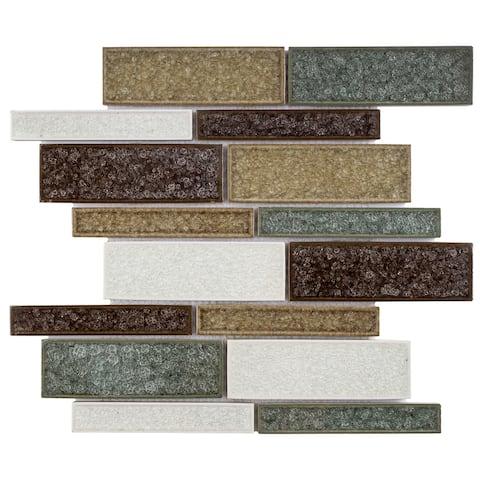 TileGen. Roman Art Mario Random Sized Ceramic in Beige/green/Red Wall Tile (10 sheets/10.6sqft.)