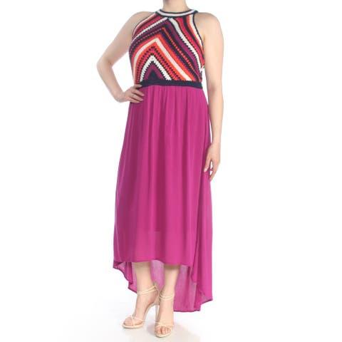 SANGRIA Womens Purple Crochet Contrast Sleeveless Halter Tea Length Hi-Lo Evening Dress Size: 16