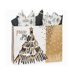 "Pack Of 200, Vogue 16 X 6 X 12.5"" Golden Holiday Trees Paper Recycled Shopping Bag Made In Usa"