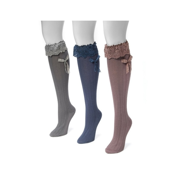 Muk Luks Socks Womens Lacey Bow Knee High 3 pack O/S Multi-Color 00 - One size