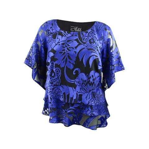 Alex Evenings Women's Plus Size Printed Tiered Top - Black/Royal