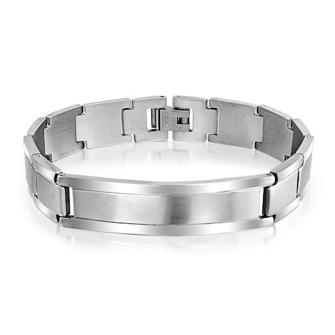 Identification Name Plated ID Bracelet Watchband Matt Stainless Steel - 8