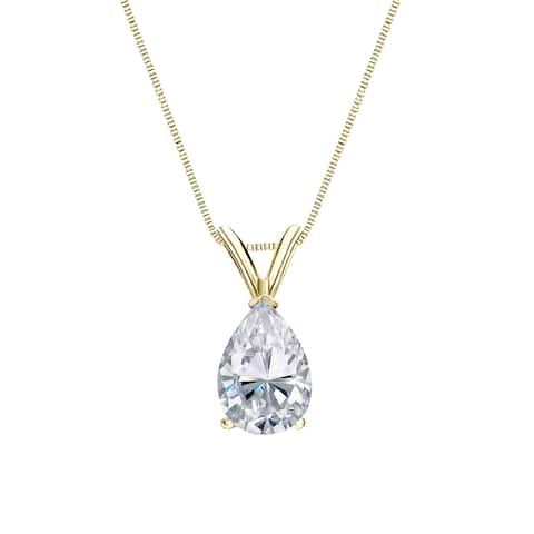 Auriya 1ctw Pear-cut Diamond Solitaire Necklace 14k Gold