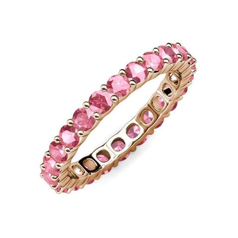 TriJewels Common Prong Pink Tourmaline Eternity Ring 2.66 ctw 14K Gold