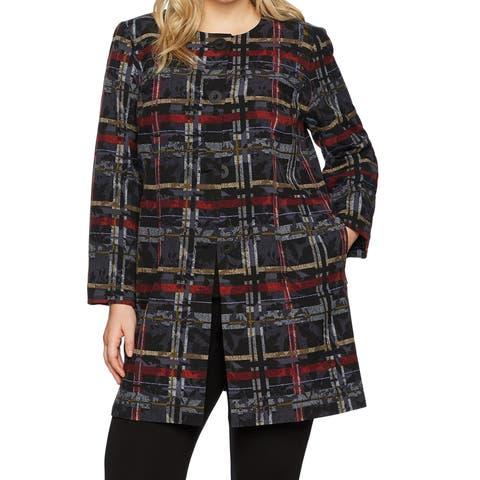 Nine West Womens Plus Four Button Plaid-Print Jacket