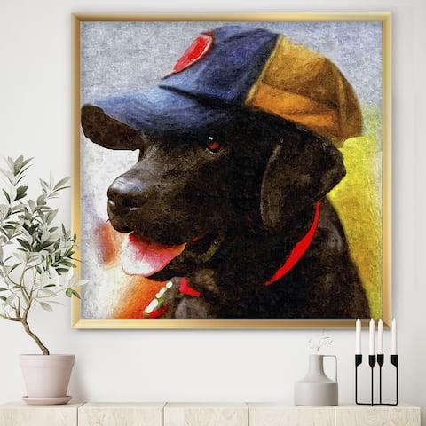 Designart 'Black Dog Coach' Cottage Premium Framed Art Print