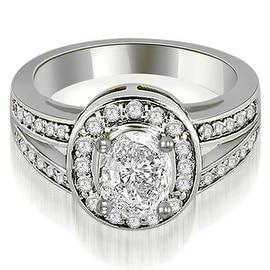 0.80 cttw. 14K White Gold Halo Oval Cut Diamond Engagement Diamond Ring