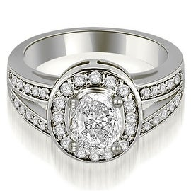 1.30 cttw. 14K White Gold Halo Oval Cut Diamond Engagement Diamond Ring