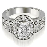 1.30 cttw. 14K White Gold Halo Oval Cut Diamond Engagement Diamond Ring