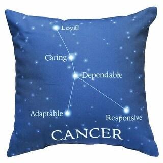 Horoscope Navy Blue Decorative Throw Pillow - Cancer
