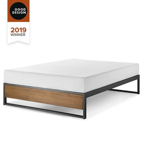 GOOD DESIGN Winner - Priage by Zinus 14 Inch Brown Wood and Metal Platforma Bed