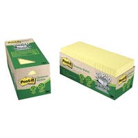 Post-it Recycled Paper Greener Notes Cabinet Pack, 3 x 3 in, Canary Yellow, Pad of 75 Sheets, Pack of 24