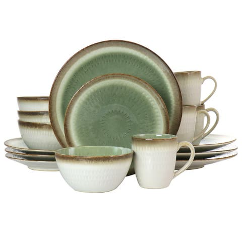 Gibson Elite Moonstruck 16 Piece Ceramic Dinnerware Set in Green