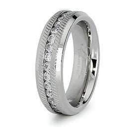 6mm Stainless Steel Eternity Band with CZs