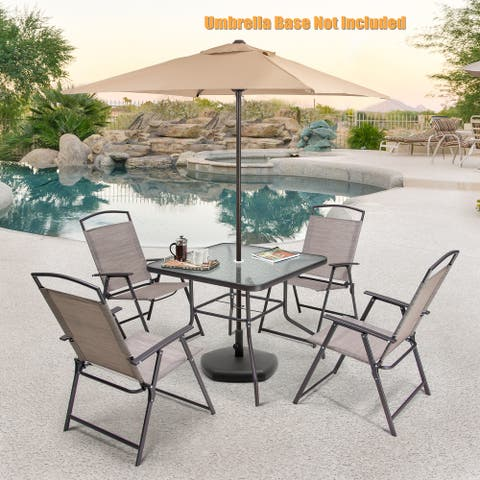 6 PCS Patio Dinning Set with 4 Folding Chairs, Glass Table and Tan Umbrella without Base