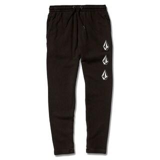 Volcom Boys Pants Deep Black Size Small S Logo Printed Drawstring
