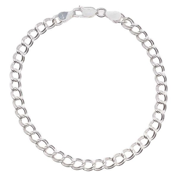Sterling Silver Italian .065 'Parallelo' Chain Charm Bracelet 7 Inch With Lobster Clasp