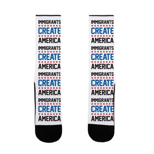 Immigrants Create America US Size 7-13 Socks by LookHUMAN