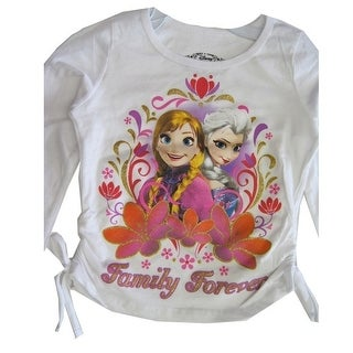 Disney Little Girls White Anna Elsa Character Printed Long Sleeve Shirt 4-6X