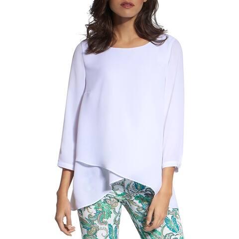 Basler Womens Pullover Top Tiered SharkbiteH H - White