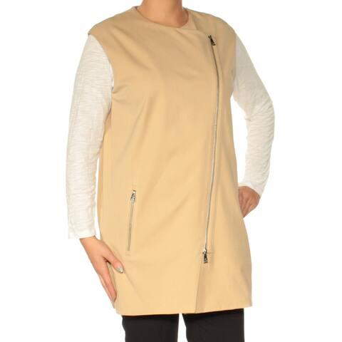 Ralph Lauren Womens Brown Sleeveless Zip Neck Top Siz