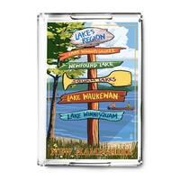 Lakes Region, NH - Destinations Sign - LP Artwork (Acrylic Serving Tray)