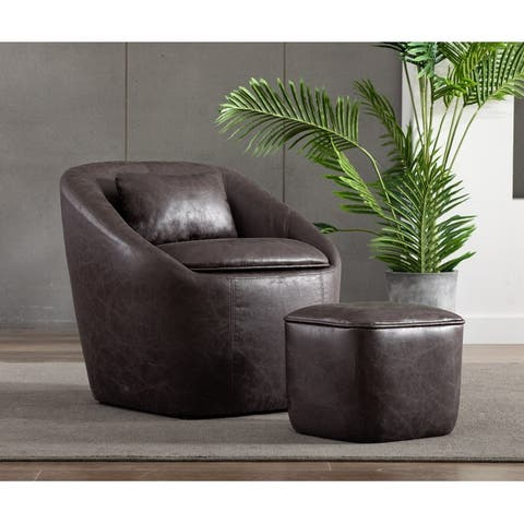 WOVENBYRD Barrel Chair with Storage Seat and Ottoman