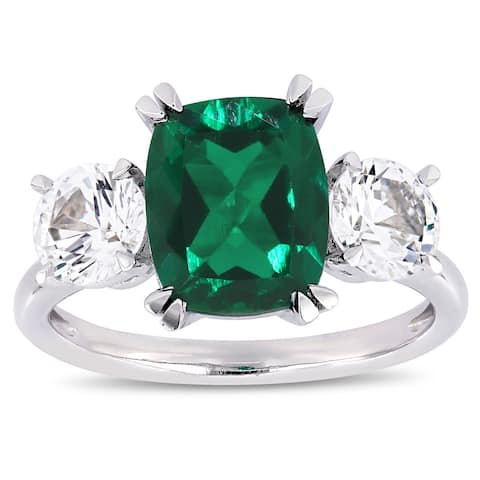 Miadora 10k White Gold Created Emerald and White Sapphire 3-Stone Engagement Ring