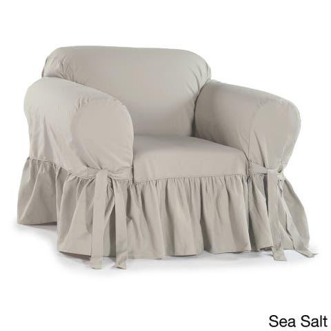 Ruffled Cotton Arm Chair Slipcover