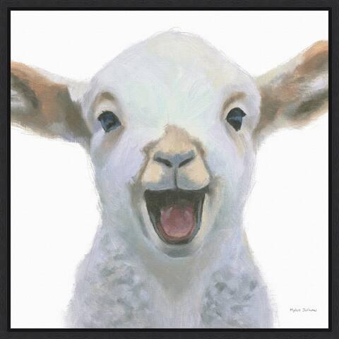 Farm Friends I Lamb by Myles Sullivan Framed Canvas Art