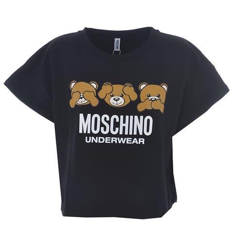 MOSCHINO Womens Black Bear Short Sleeve Logo Crop T Shirt