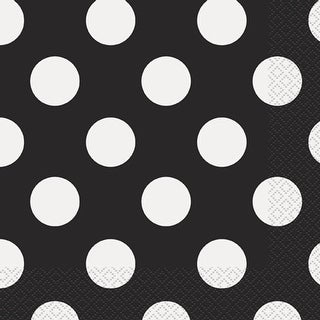 "Luncheon Napkins 6.5""X6.5"" 16/Pkg-Midnight Black Decorative Dots"