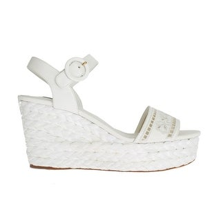 Dolce & Gabbana White Leather Cutout Wedges Sandals