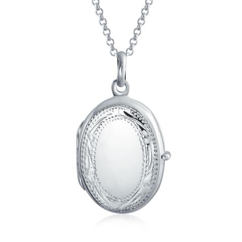 Vintage Style Etching High Polish Oval Locket Pendant Engravable 925 Sterling Silver Necklace For Women