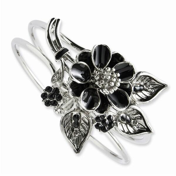 Silvertone Black Enamel Floral Bracelet