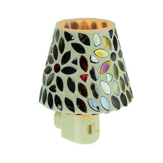 Mirrored Black Floral Mosaic Shaded Night Light - Multicolored
