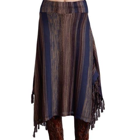 Stetson Western Skirt Womens Striped Blue Brown - S