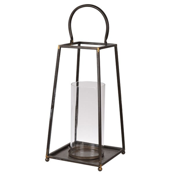 """16.25"""" Brown and Clear Contemporary Candle Lantern - N/A"""