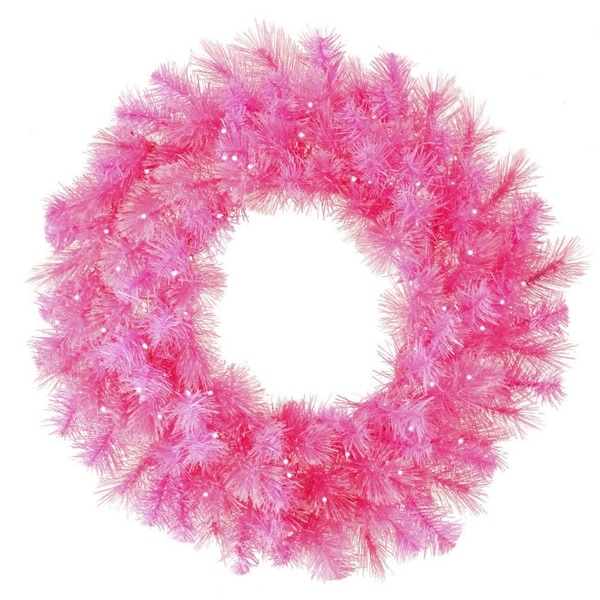 "30"" Pre-Lit Pink Cashmere Artificial Christmas Wreath - Clear Lights"