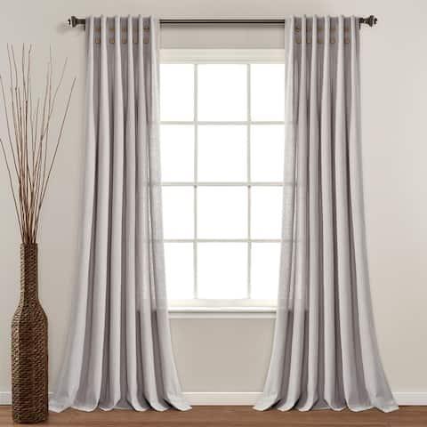 "Lush Decor Linen Button Pinched Pleat Window Curtain Single Panel - 84"" x 40"""