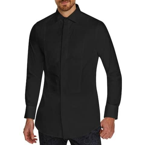 Tallia Sport Mens Tuxedo Dress Shirt Black Medium M Pintuck Button Down