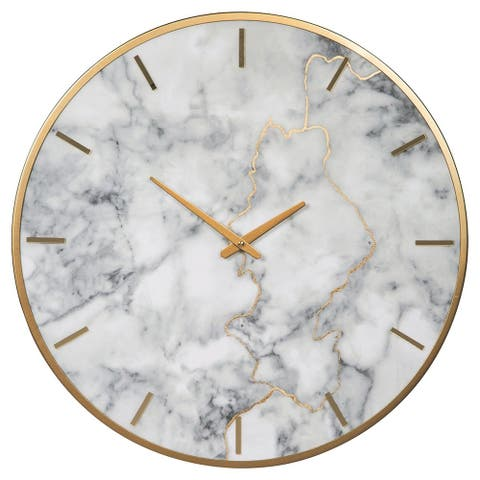 Round Metal Wall Clock with Faux Marble Background, Gold and White - 23.6 H x 23.6 W x 2 L Inches