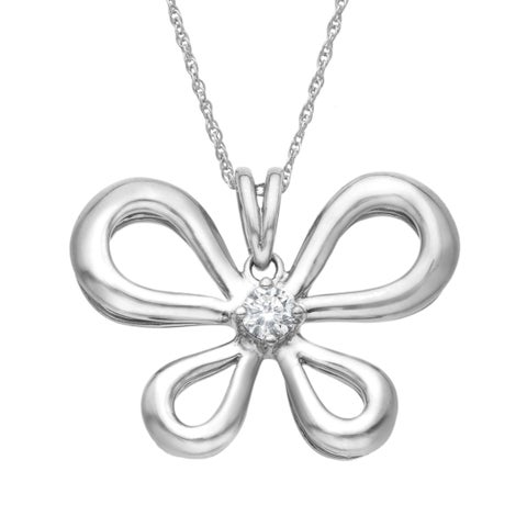 1/5 ct Diamond Butterfly Pendant in Palladium