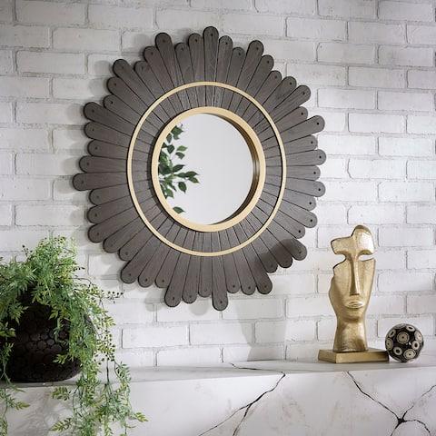 Victoria Round Dark Brown Sunburst Wall Mirror by iNSPIRE Q Bold - Wall Mirror