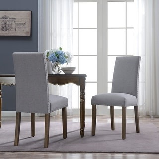 Belleze Set of (2) Classic Deluxe Parson Dining Chair Nailhead Padded Accent, Gray