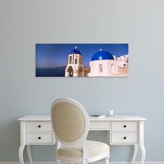 Easy Art Prints Panoramic Images's 'Church with sea in the background, Santorini, Cyclades Islands, Greece' Canvas Art
