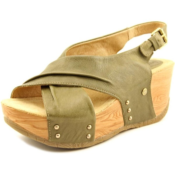 3888e751bef Shop Bussola Style Formentera Women Open Toe Leather Green Wedge ...