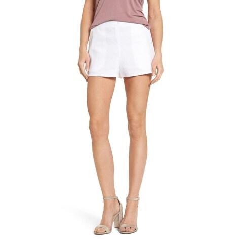 Leith White Women's Size Large L High Waist Linen Blend Shorts
