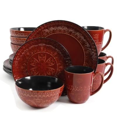 Gibson Elite Milanto Red 16-piece Stoneware Dinnerware Set