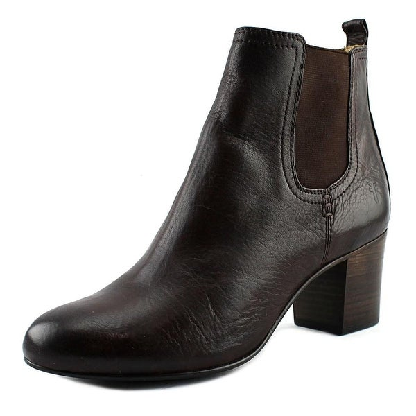 Frye Stella Chelsea Short Women Round Toe Leather Brown Ankle Boot